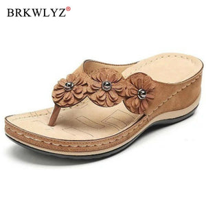 2020 Women Summer Wedge Slippers Thong Shoes Women Vintage Flip Flops Female Flowers Ladies Woman Sandals Lady Casual Slides