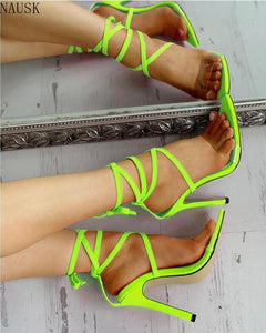 Size 35~43 2020 Sexy Sandals Women Lace-Up Thin High Heel Cover Heel Round Toe Wedding Daily Party Shoes Women Sandalia Feminina