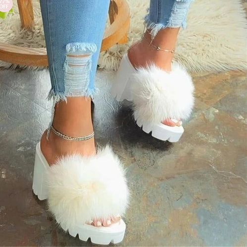 2020 New Fashion  Women Sandals Chunky Heel Platform Flip Flop Slip-On Plain Summer Transparent Heels Slippers Sandalias Mujer