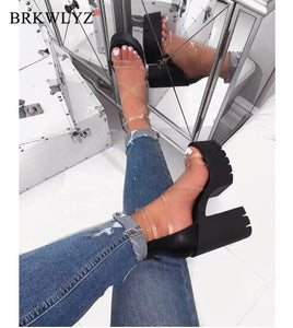 2020 Office Spring Lace Up High Heels Women Fashion High Heels Square Heels Platform Sandals Party Wedding Sandalias Mujer