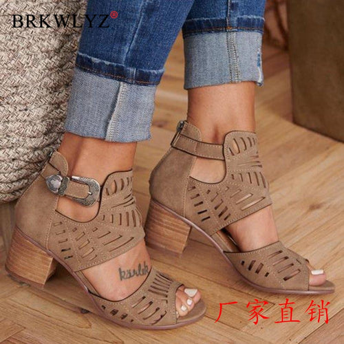 2020 New Women Gladiator Pump Platform High Thick Heel Elastic Open Toe Platform Wedding Ladies Fretwork Pumps Zapatos Mujer