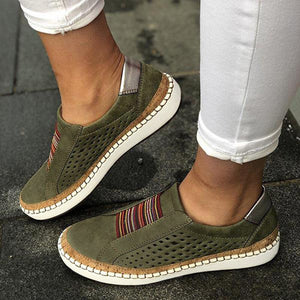 Women Slip on Sneakers Shallow Loafers Vulcanized Shoes Breathable Hollow Out Casual Shoes Ladies Tenis Feminino Flats Shoes