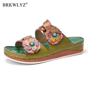 women summer mid heels wedges shoes woman slides slippers outdoor PU flowers beads ethic sandalias mujer sapato feminino