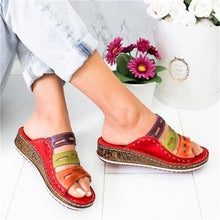 Load image into Gallery viewer, Wedge Heel Slipper 2020 Summer Women Lady Retro Stitching ColorCasual Low  Beach Open Peep Toe Sandals 3 colors Shoes Slides