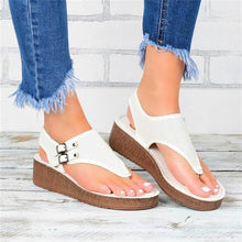 Load image into Gallery viewer, Women's Wedge Sandals 2020 Summer New Solid Color Beach Flat Sandals Shoes Dropshipping Buckle Female Platform Sandals Shoes