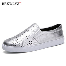 Load image into Gallery viewer, BRKWLYZ New 2020 Autumn Loafers Women Flats Shoes Genuine Leather Casual Shoes Woman Slip-on Ballerina Flats Shoes Ladies Shoes