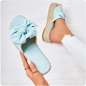 Women Bowknot Slippers 2020 Summer Casual Beach Muffin Slip On Platform Ladies Sandals Dress Party Peep Toe Female Sandals