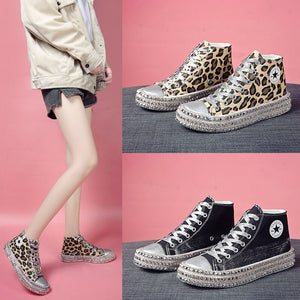 Size 35~43 Women Sneakers Sexy Leopard Print Fashion Rivets Women Canvas Shoes Leisure Lace-Up High Top Sneakers Tenis Feminino
