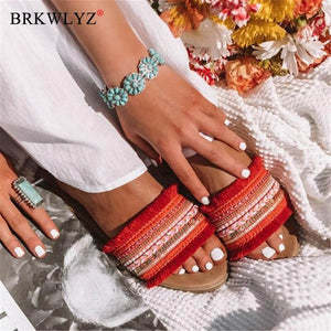 Women slippers 2020 summer new Rome Retro sandals flat casual shoes female slip on slides woman shoes plus size Sandalias mujer
