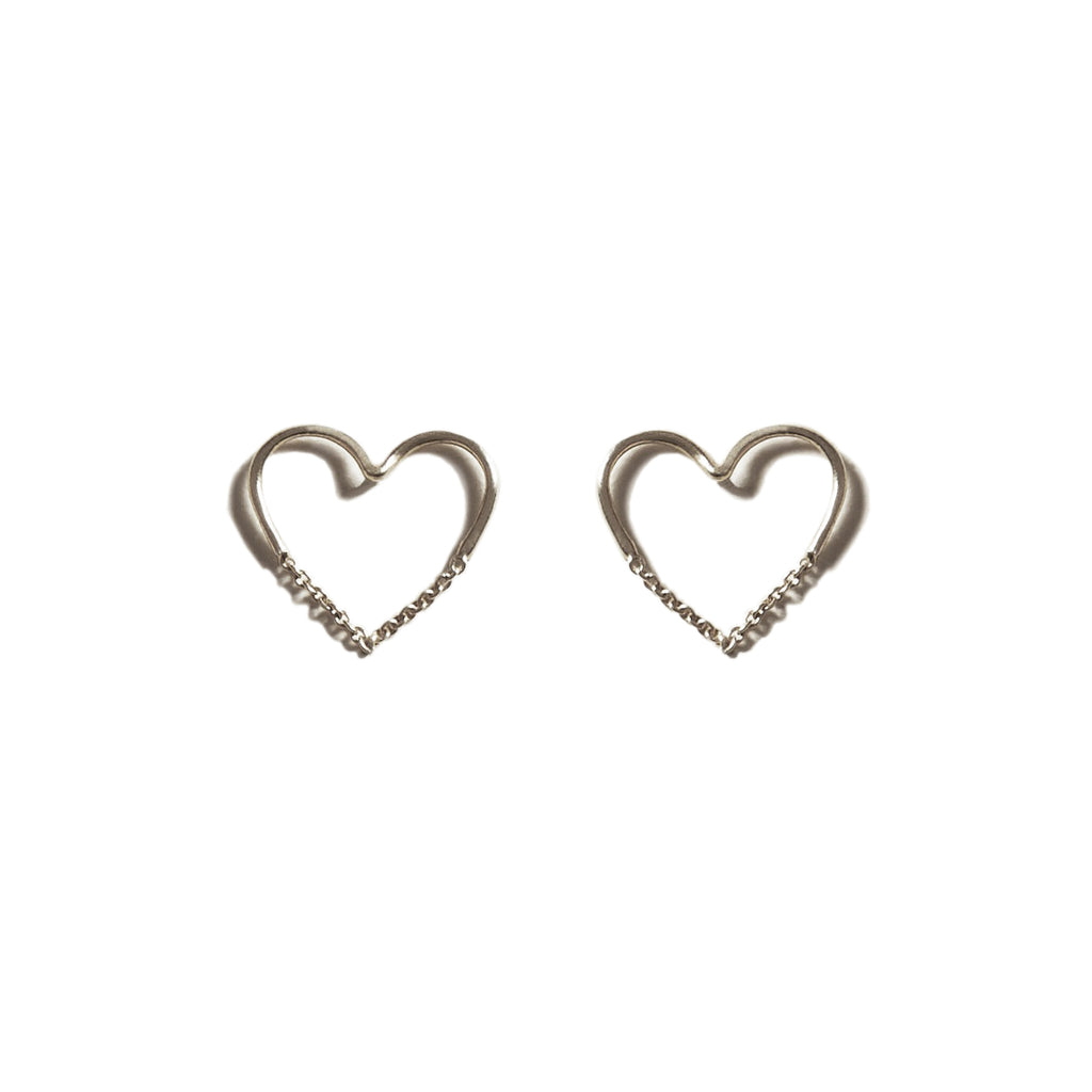 EACH Love Chain Stud Earrings in Silver Featured on WOMANBOSS