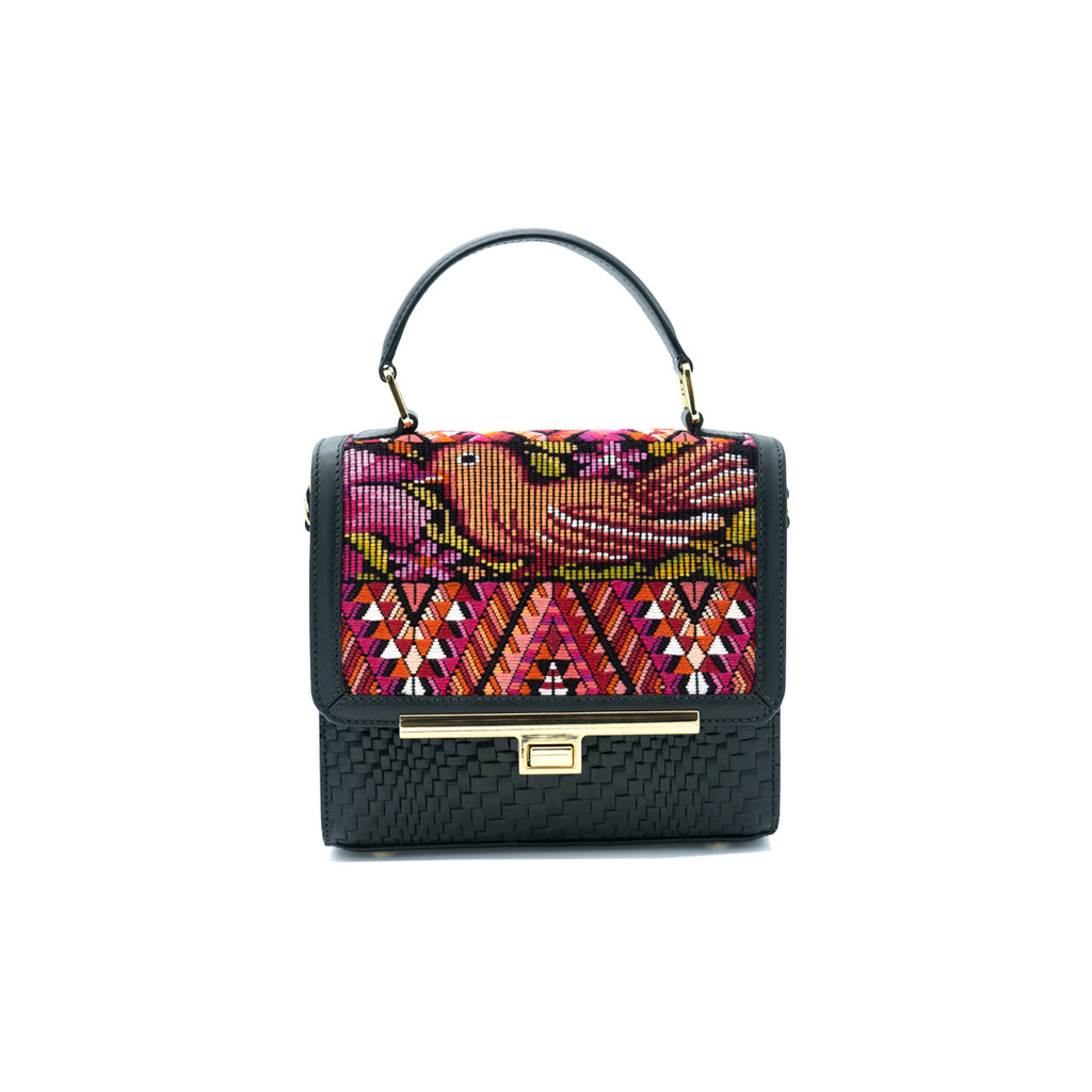 Marias Bag Rosa Mini Domina in Black Leather with Gold Featured on WOMANBOSS
