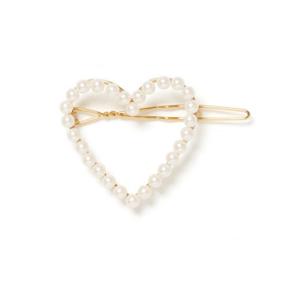 EACH Amelie Pearl Heart Barrette in Gold Featured on WOMANBOSS