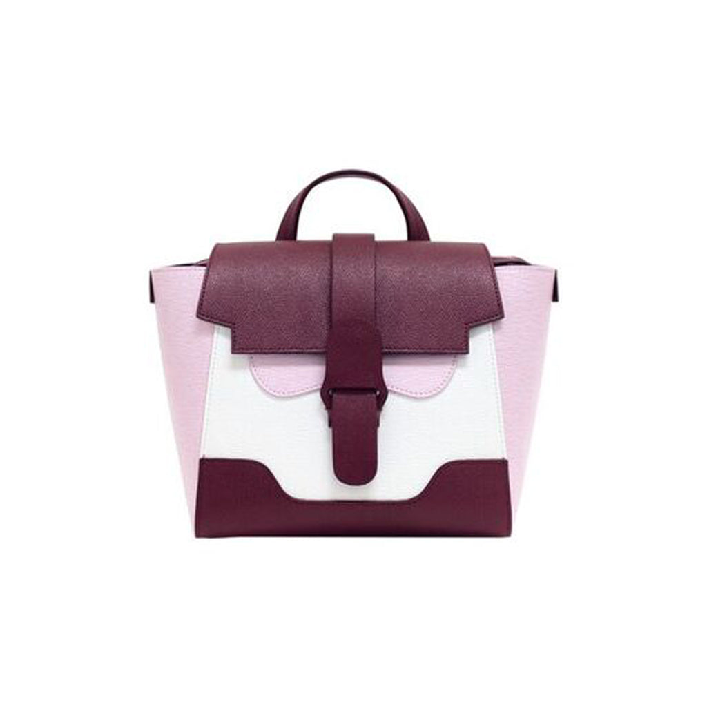 Senreve Mini Womens Italian Leather Handbag in Color Block Purple Pink and White Featuredon WOMANBOSS