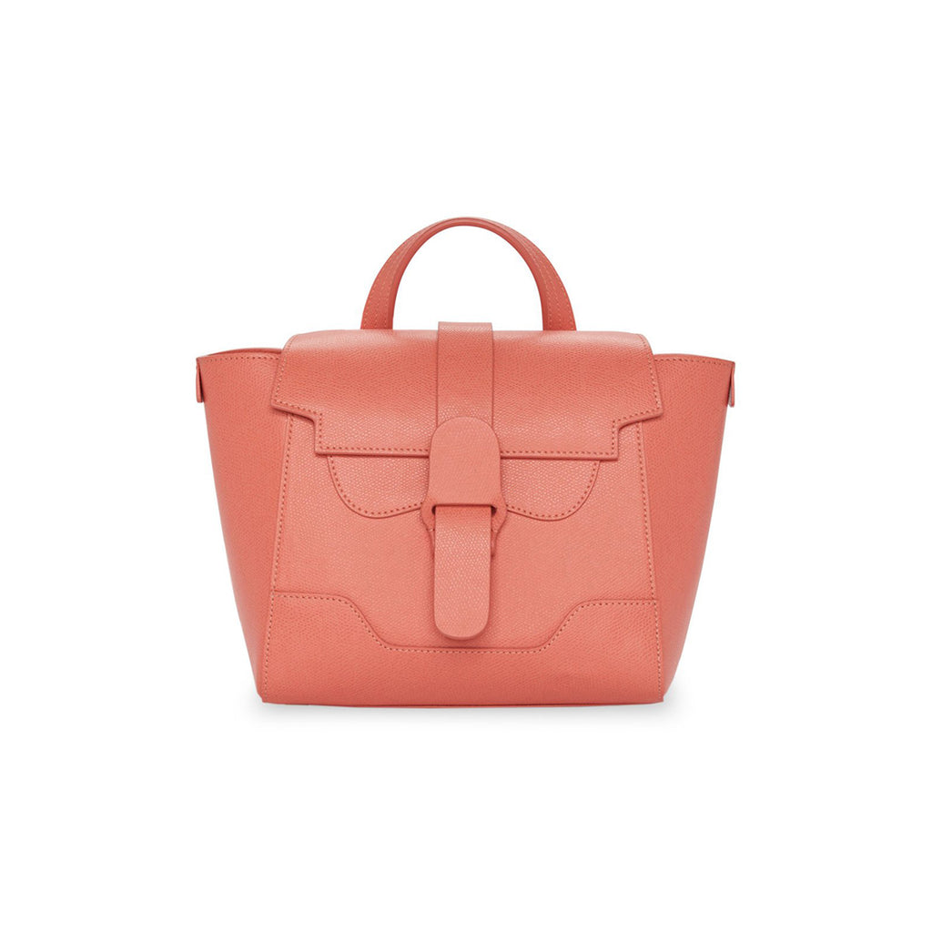 Senreve Mini Womens Italian Leather Handbag in Pebbled Coral Featured on WOMANBOSS