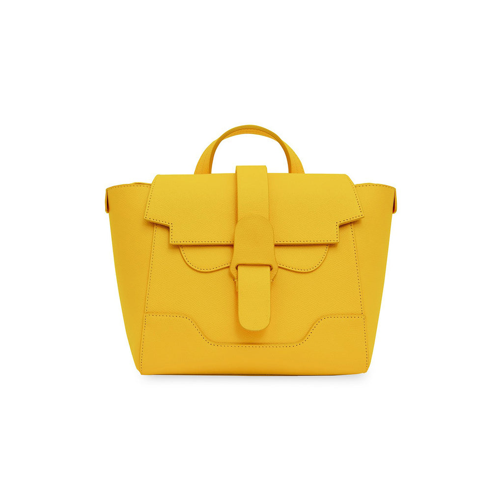 Senreve Mini Womens Italian Leather Handbag in Pebbled Dandelion Yellow Featured on WOMANBOSS