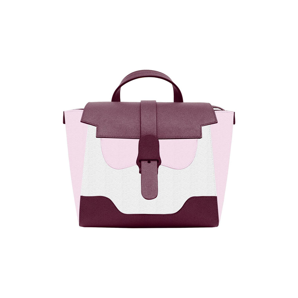 Senreve Midi Womens Italian Leather Handbag in Color Block Purple Pink and White Featuredon WOMANBOSS
