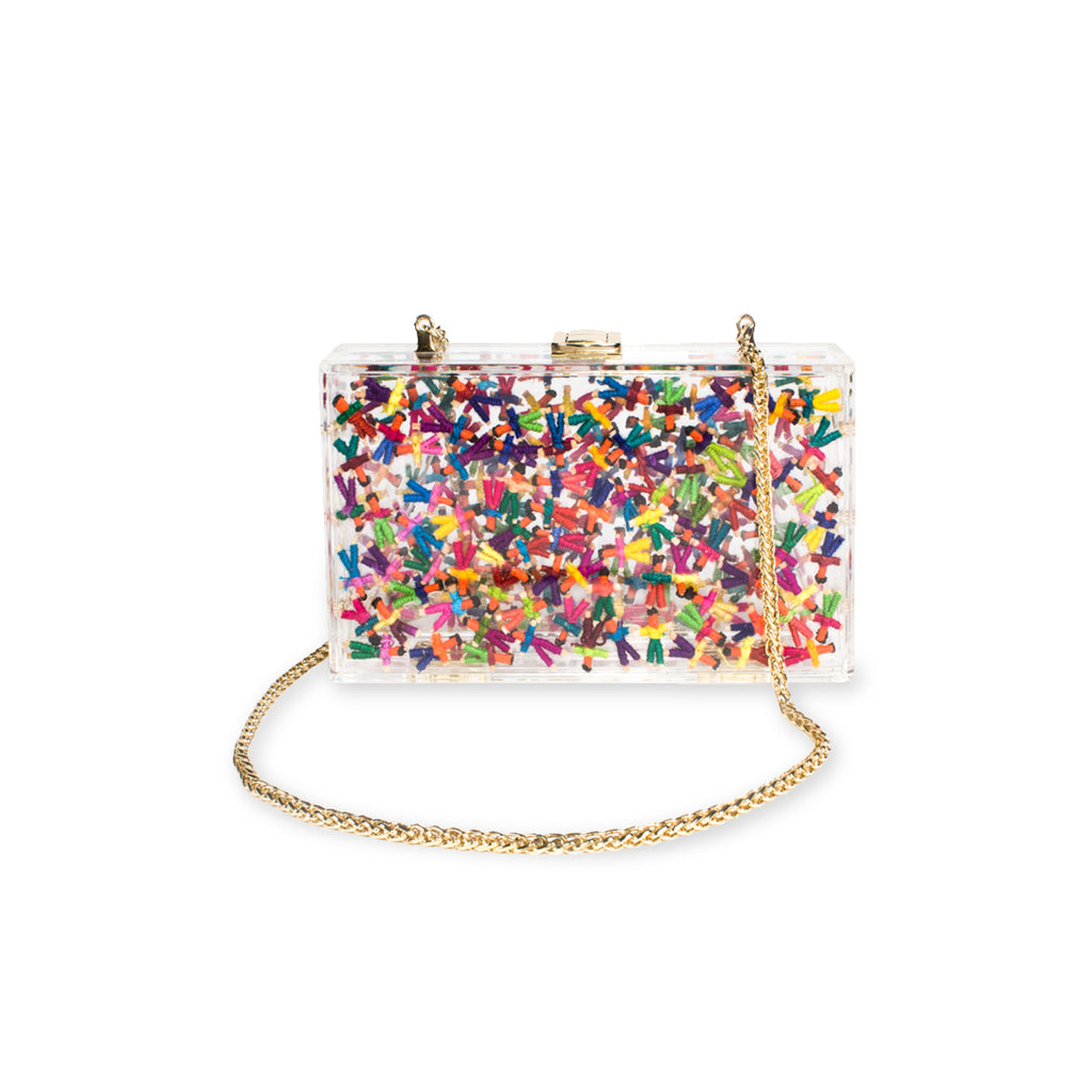 Marias Bag No-Worry Dolly Clutch in Multicolor with Gold Chain Featured Only on WOMANBOSS