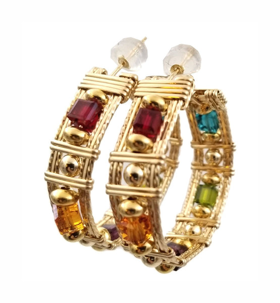 4MM SWAROVSKI MULTI COLORED CRYSTAL BEAD HOOP EARRINGS