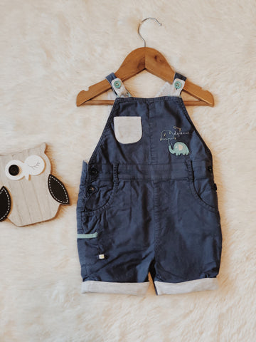 blue baby romper with grey overlay