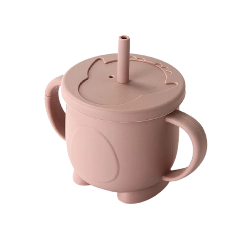 Silicone Training Cup with Straw-Tan