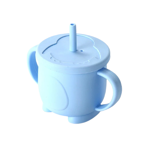 Silicone Training Cup with Straw- Blue