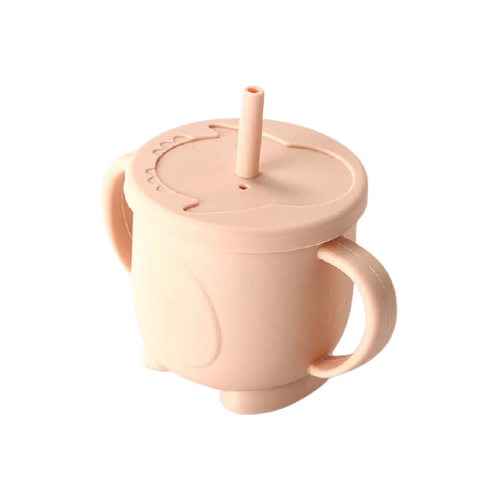 Silicone Training Cup with Straw-Blush