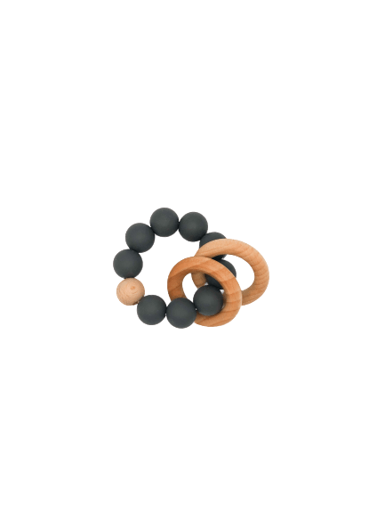 Silicone Teether With Wood Rings 3M+ - B.BabyCo