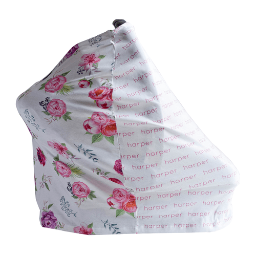 Personalized Blanket And Burp Cloth Peonies Collection - B.BabyCo
