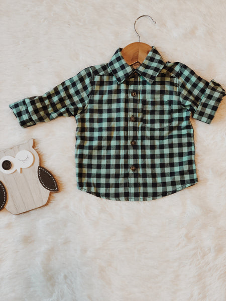 Green Plaid Outfit Bundle-3Pcs - B.BabyCo
