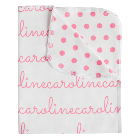 Personalized Blanket And Burp Cloth Polka Dot Collection - B.BabyCo