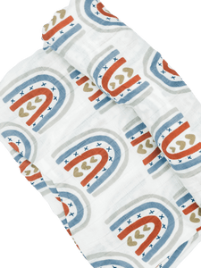 Organic Muslin Cotton Swaddle Blanket- Rainbow Kiss Collection - B.BabyCo