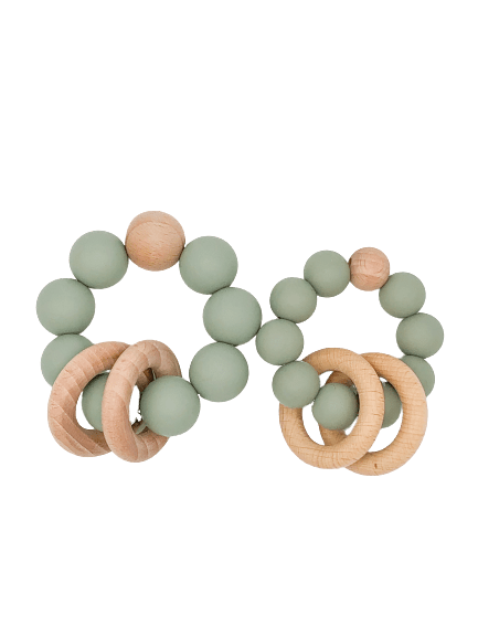 Silicone Teether With Wood Rings 6M+ - B.BabyCo