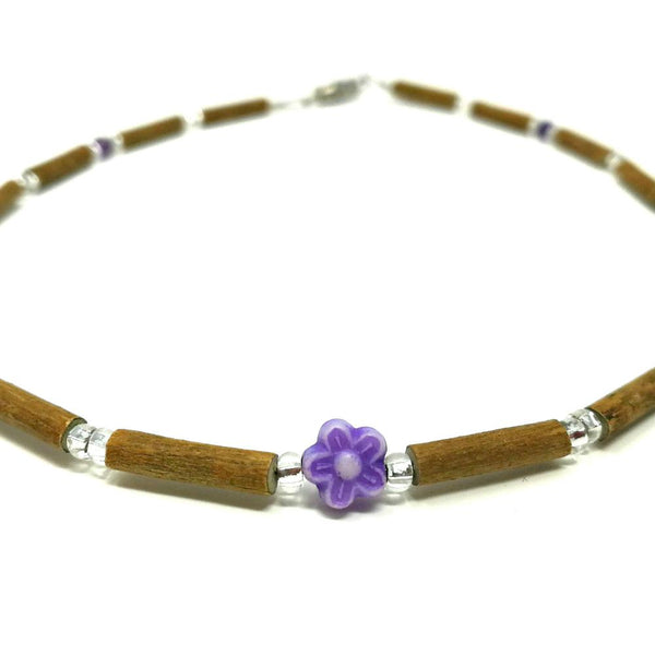 teething necklace mauve flower