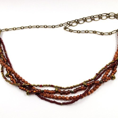 collier multirang bordeaux
