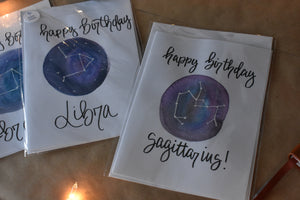 Zodiac Watercolor Galaxy Birthday Card