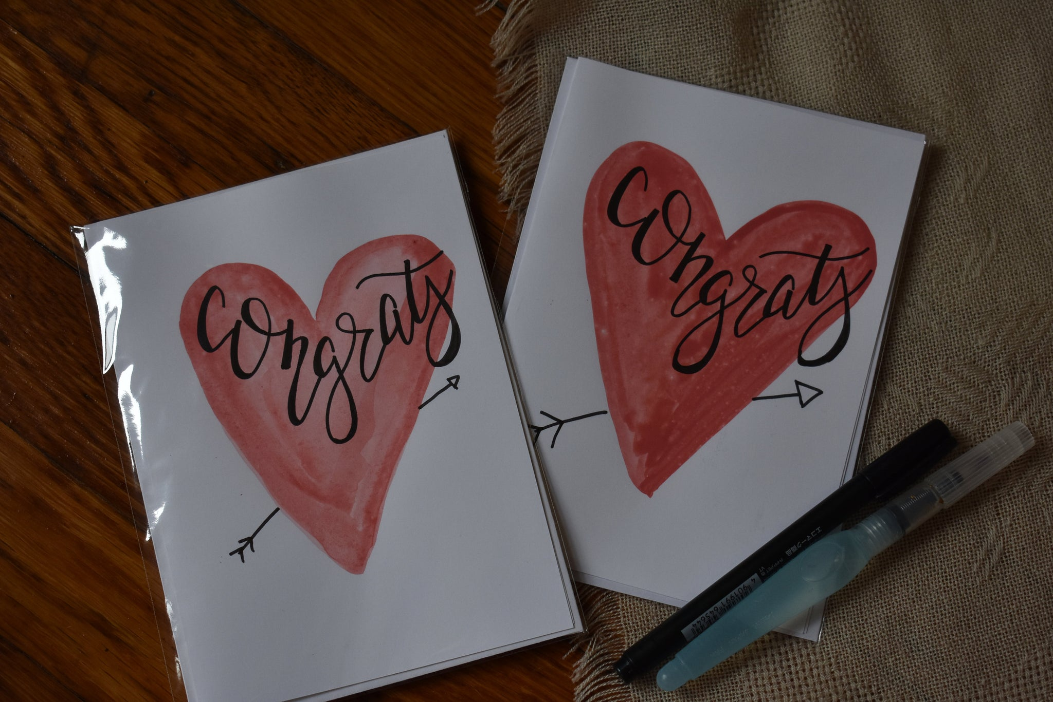 Perfect Engagement Card, Congratulations Greeting Card - Handmade, Hand Painted Congrats Card