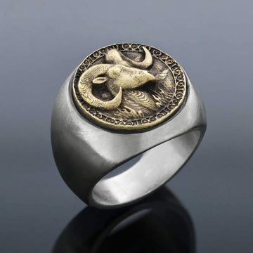 rings, Aries Round Horoscope Ring - Mens Rings and Wedding Bands by Lox and Lasso™️