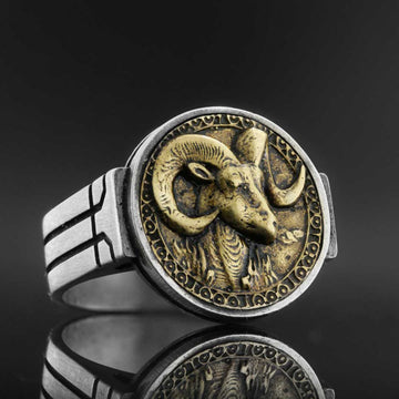 rings, Aries Celtic Round Horoscope Ring - Mens Rings and Wedding Bands by Lox and Lasso™️