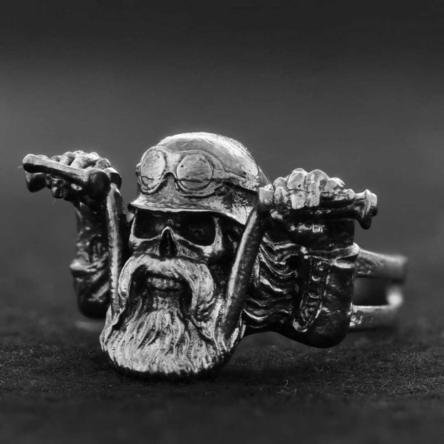 rings, Biker Skull Ring - Mens Rings and Wedding Bands by Lox and Lasso™️