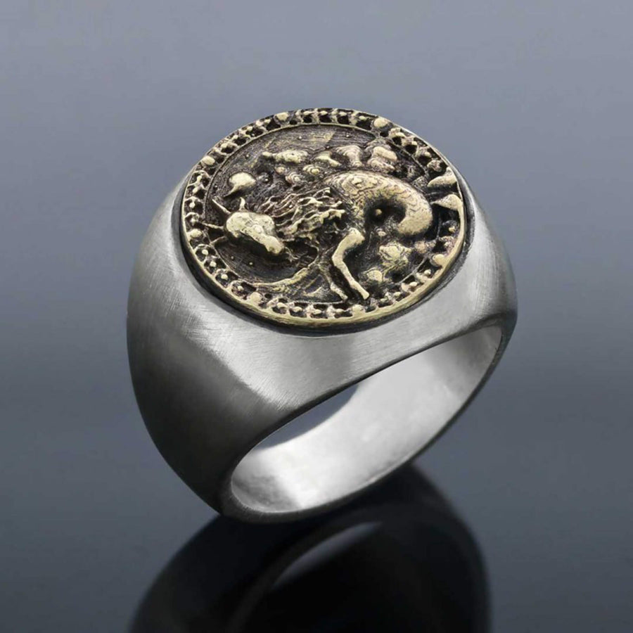 rings, Capricorn Round Horoscope Ring - Mens Rings and Wedding Bands by Lox and Lasso™️