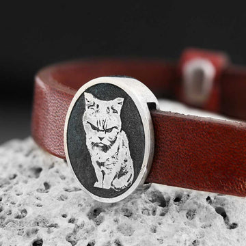 bracelets, Cat Picture Bracelet - Mens Rings and Wedding Bands by Lox and Lasso™️
