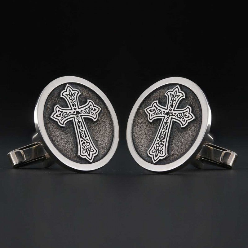 Cufflinks, Christian Cross Round Cufflink - Mens Rings and Wedding Bands by Lox and Lasso™️