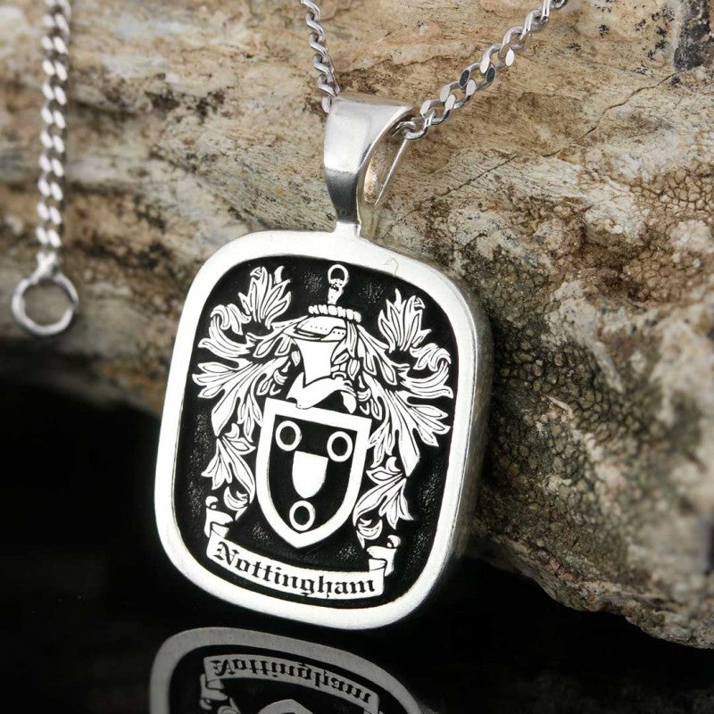 Pendants, Square Raised Family Crest Pendant - Mens Rings and Wedding Bands by Lox and Lasso™️