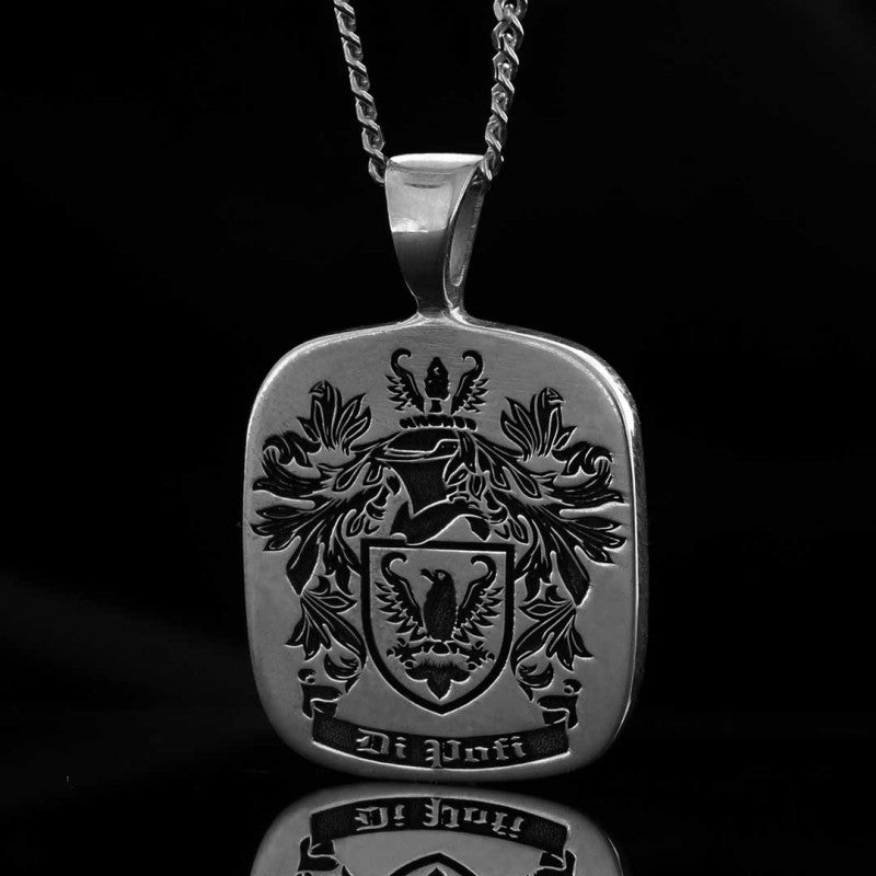 Pendants, Square Engraved Family Crest Pendant - Mens Rings and Wedding Bands by Lox and Lasso™️