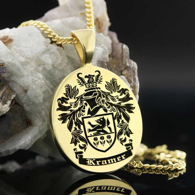 Pendants, Oval Engraved Family Crest Pendant - Mens Rings and Wedding Bands by Lox and Lasso™️