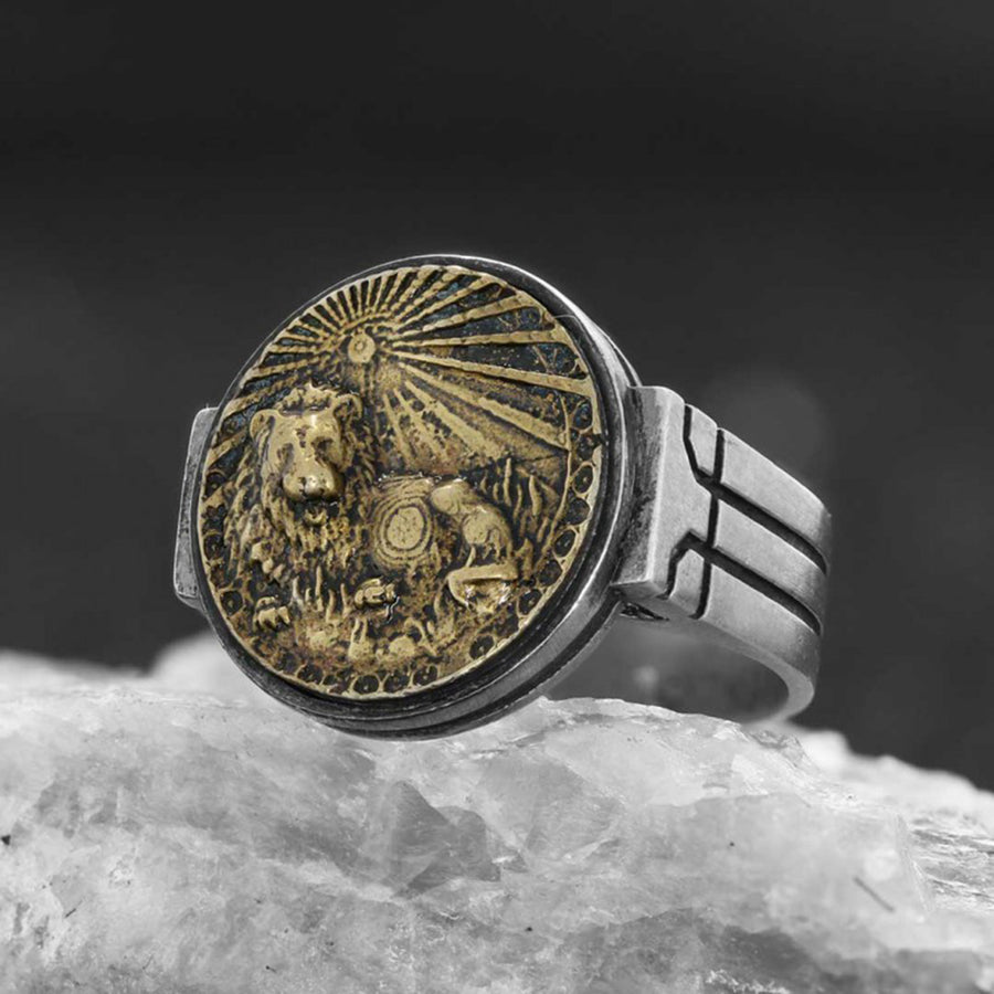 rings, Leo Celtic Round Horoscope Ring - Mens Rings and Wedding Bands by Lox and Lasso™️