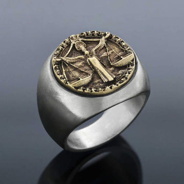 rings, Libra Round Horoscope Ring - Mens Rings and Wedding Bands by Lox and Lasso™️