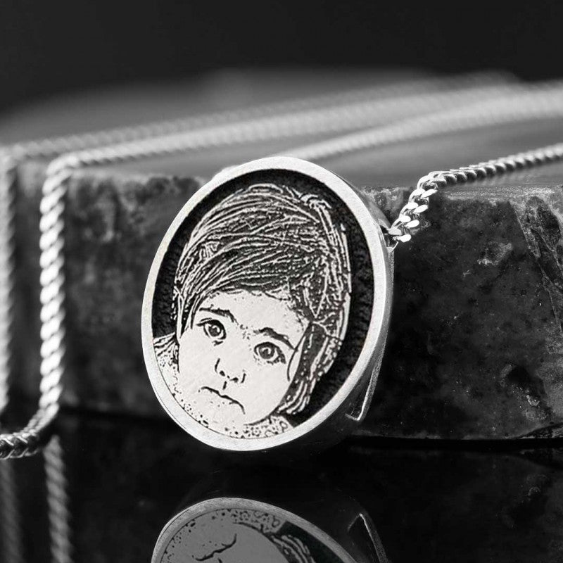 Pendants, Child Photo Silver Pendant - Mens Rings and Wedding Bands by Lox and Lasso™️