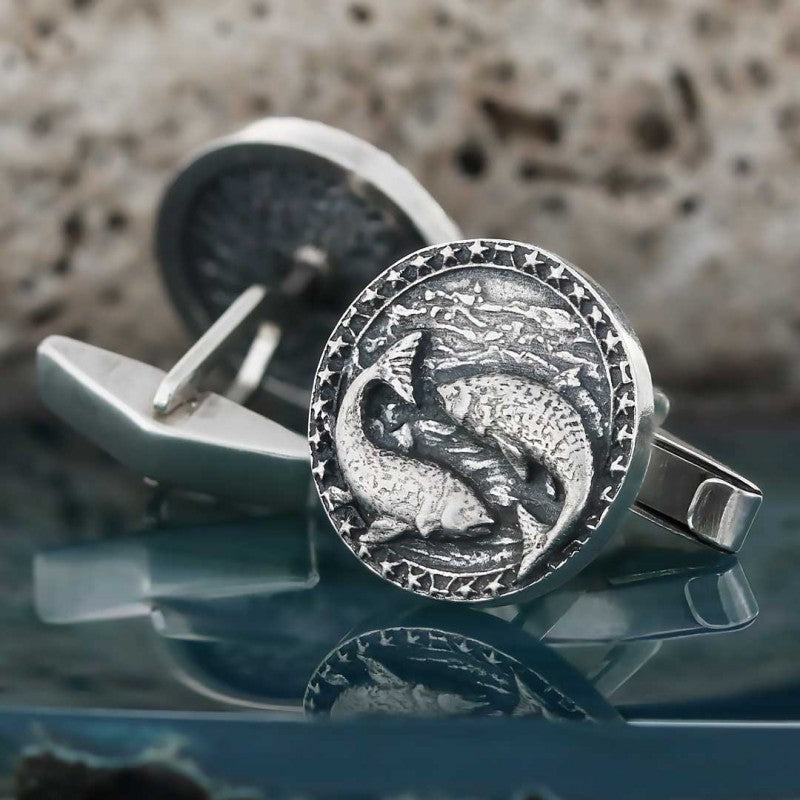 Cufflinks, Pisces Zodiac Cufflinks - Mens Rings and Wedding Bands by Lox and Lasso™️