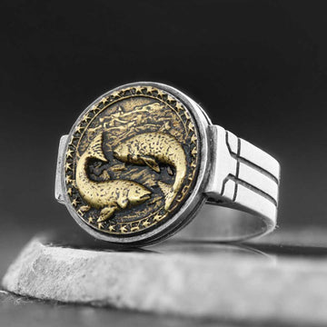 rings, Pisces Celtic Round Horoscope Ring - Mens Rings and Wedding Bands by Lox and Lasso™️